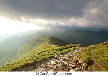 Tatra Mountains during sunrise July, Poland