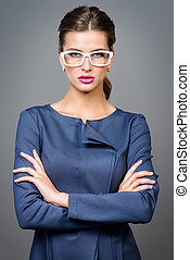 business lady - Optics style Portrait of a beautiful young...