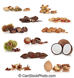 Nut Collection - Large mixed nut food collection, isolated...