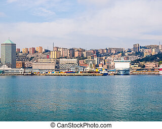 View of Genoa Italy from the sea HDR - High dynamic range...