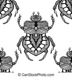 hand drawn zentangle stylized beetle - Vector seamless...