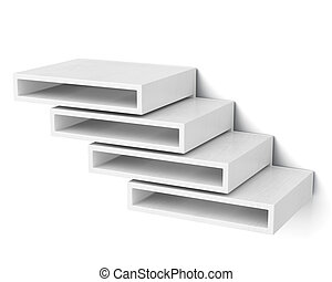 Wall shelves isolated on white background 3d rendering