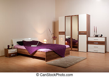 bedroom interior showcase including bed, wardrobe, bedside...