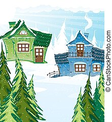 Green and blue houses in a pine forest Winter landscape