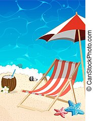 Beach with lounger and umbrella - Sea beach, foaming waves,...