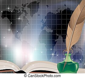 Ancient book, writing feather, inkwell and travel map
