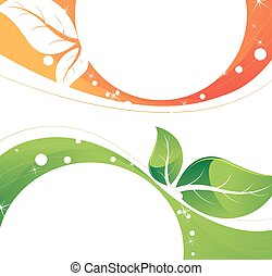 Tender leaves of the orange and green background Conceptual...