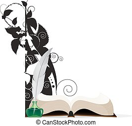 Book, feather and floral silhouettes - Open hardcover book...