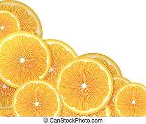 Orange slices - Juicy orange slices on a white background