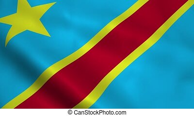 Realistic Democratic Republic of the Congo flag waving in...