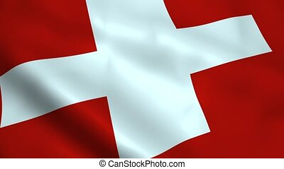 Realistic Switzerland flag waving in the wind Seamless...