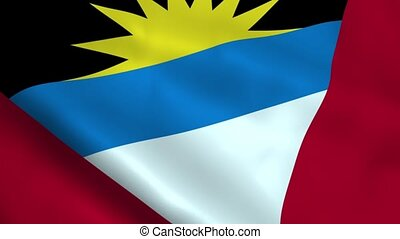 Realistic Antigua and Barbuda flag waving in the wind....