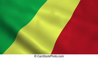 Realistic Republic of the Congo flag waving in the wind....