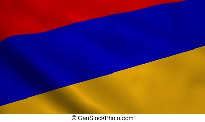 Realistic Armenia flag waving in the wind. Seamless looping.