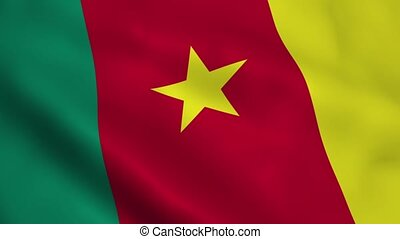 Realistic Cameroon flag waving in the wind Seamless looping...