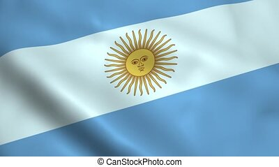 Realistic Argentina flag waving in the wind. Seamless...
