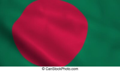 Realistic Bangladesh flag waving in the wind Seamless...