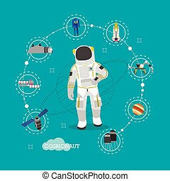 Vector illustration of astronaut in outer space. Man in spacesuit and helmet flat style design.