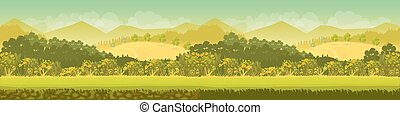 Vector illustration of a beautiful green mountain forest