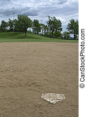 Home Base - View of a baseball field from home base