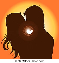 Sunset Silhouette Couple Kissing