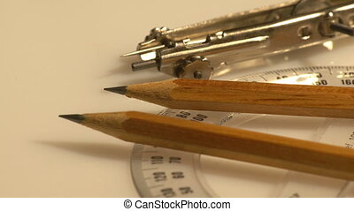 Macro set of compasses - A macro set of small steel...