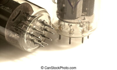 Two old digital lamps turning - Two old electronic lamps on...
