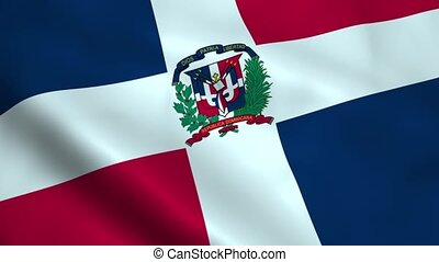 Realistic Dominican Republic flag