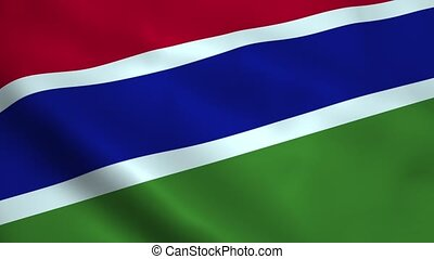 Realistic Gambia flag waving in the wind. Seamless looping.