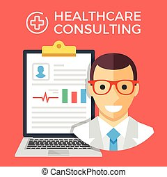 Healthcare consulting flat concept - Healthcare consulting...