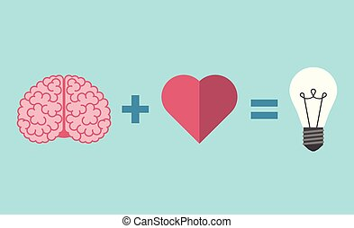 Brain, heart and lightbulb
