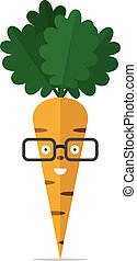 Carrot character with glasses - Smiling cheerful carrot...