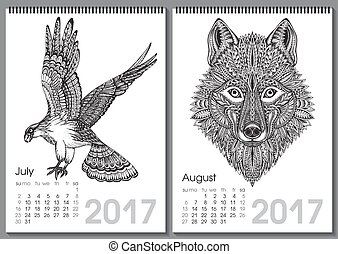 Calendar 2017. Beautiful ornate hand drawn animals for every...