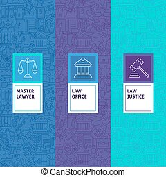 Line Law Justice Patterns Set Vector Illustration of Logo...