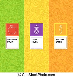 Line Fruit Vegetable Patterns Set