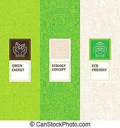 Line Ecology Patterns Set. Vector Illustration of Logo...