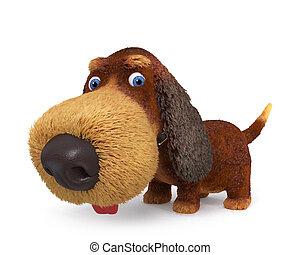 ridículo, perro, Ilustración,  3D