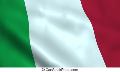 Realistic Italy flag waving in the wind. Seamless looping.