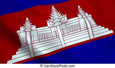 Realistic Cambodia flag waving in the wind Seamless looping...