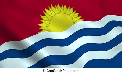 Realistic Kiribati flag waving in the wind. Seamless...
