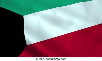 Realistic Kuwait flag waving in the wind. Seamless looping.