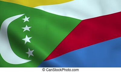 Realistic Comoros flag waving in the wind. Seamless looping.