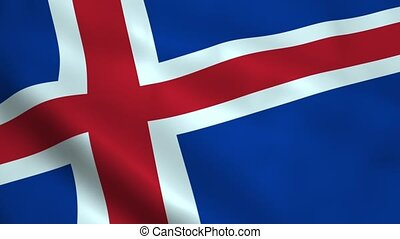 Realistic Iceland flag waving in the wind. Seamless looping.