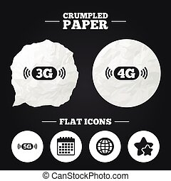 Mobile telecommunications icons 3G, 4G and 5G - Crumpled...