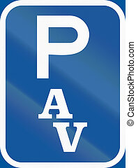 Road sign used in the African country of Botswana - Parking...