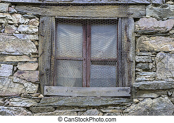 Texture, wood and stone houses in the province of Zamora in...