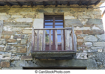 wood and stone houses in the province of Zamora in Spain