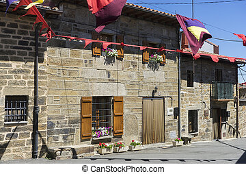 Village, traditional stone houses in the province of Zamora,...