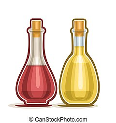 Decanter with Wine Vinegar - Vector logo Decanter with Red...