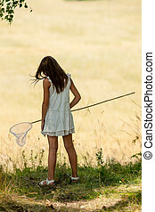 girl with butterfly net and a white dress - girl with a...
